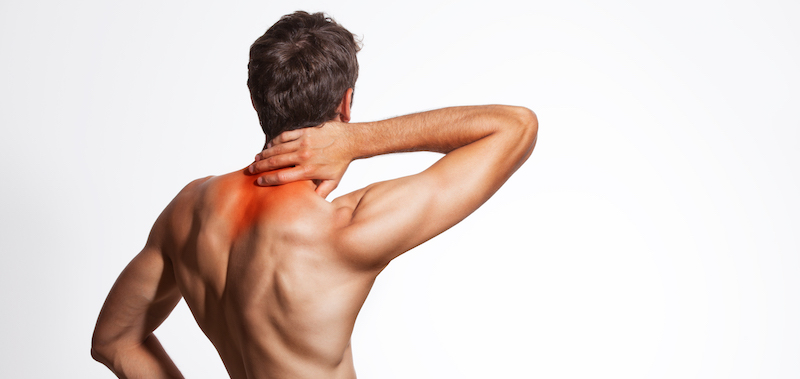 Neck pain headache. Naked male back torso.